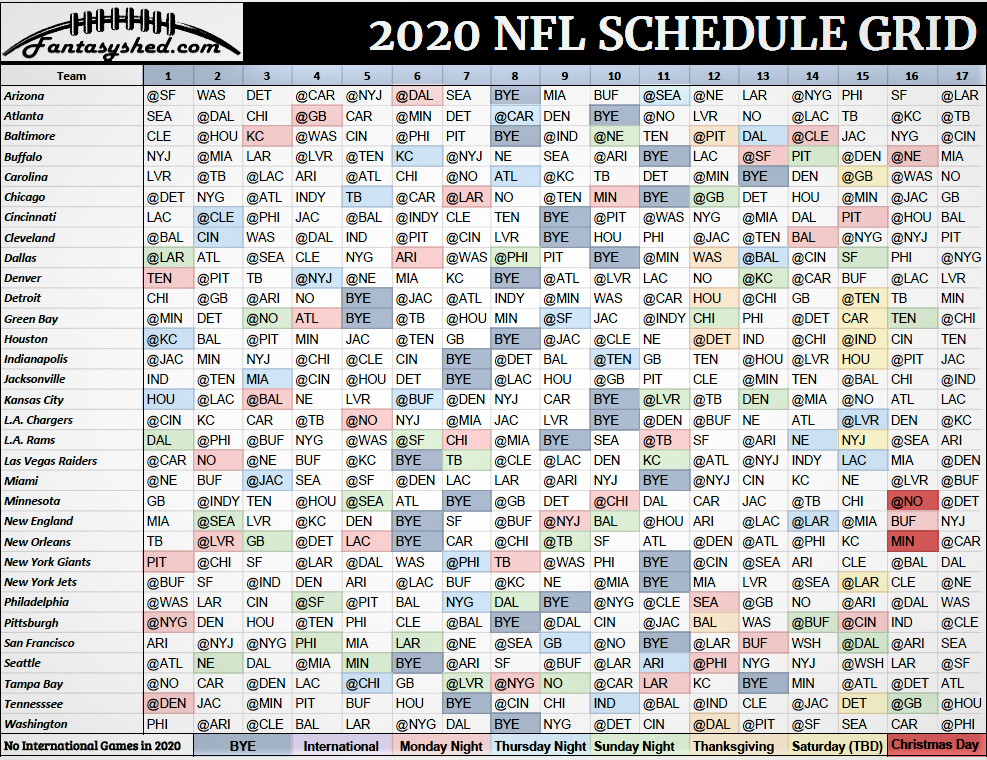 It's just a graphic of Revered Printable Nfl Schedule 2020 Pdf
